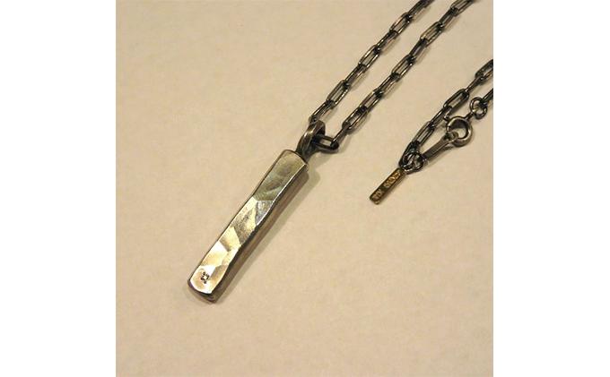 シルバー950+18金+ダイヤモンドワンオフタタキネックレス50cm