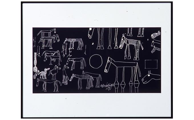 丸亀市猪熊弦一郎現代美術館 シルクスクリーン 馬 ブラック