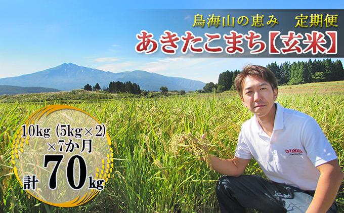 【定期便】10kg×7ヶ月 鳥海山の恵み 農家直送! あきたこまち(玄米・5kg×2袋)