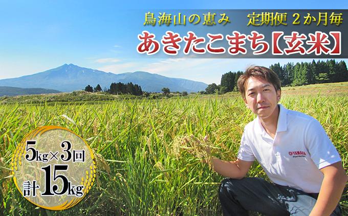 【定期便】2ヶ月ごとに5kg×3回 鳥海山の恵み 農家直送! あきたこまち(玄米・隔月)
