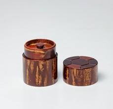総皮茶筒(細型小)天亀甲(荒川慶太郎作)【藤木伝四郎商店】