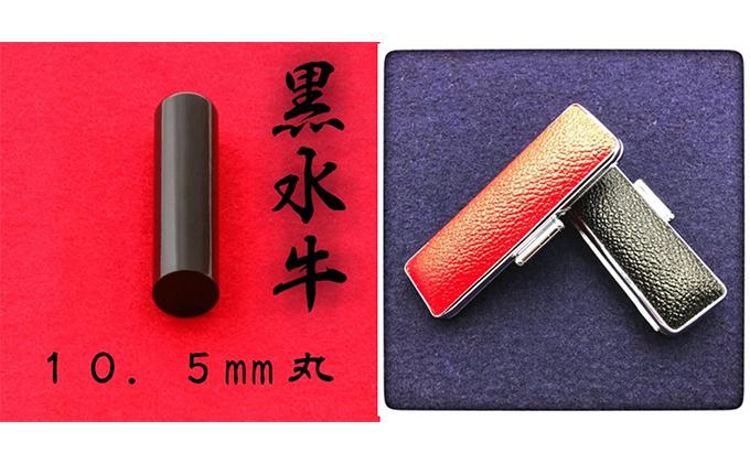静岡県浜松市のふるさと納税 黒水牛10.5mm(5書体)牛革ケース(黒)