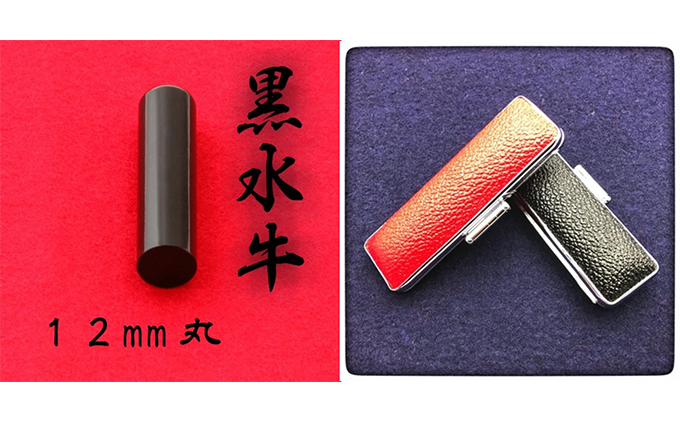 黒水牛12mm(5書体)牛革ケース(黒)