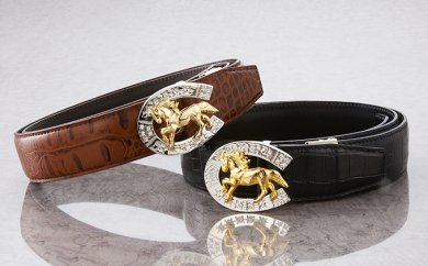 煌きの「駿馬&蹄鉄」牛革ベルト カラー:ブラウン