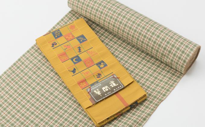 花呉装特選着物 小千谷木綿・博多織り半巾帯セット