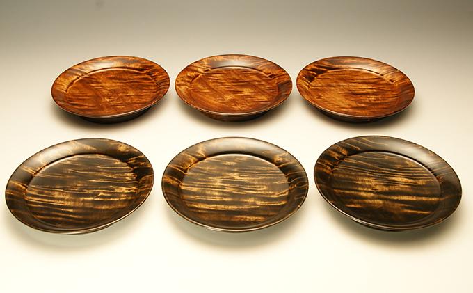 漆器 栃杢造銘々皿 六枚一組