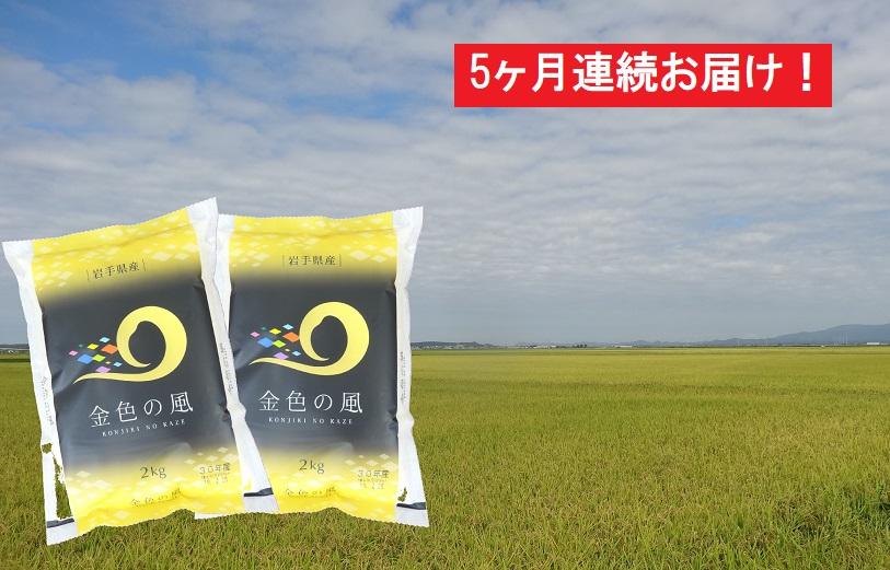 【5ヶ月】岩手県産 金色の風4kg(2kg×2袋)×5回