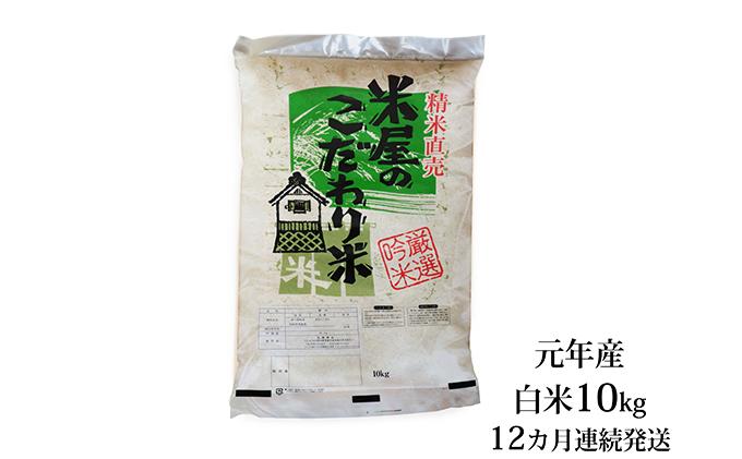 【秋田県男鹿市】元年産『米屋のこだわり米』あきたこまち 白米 10kg 12ヶ月連続発送(合計 120kg)