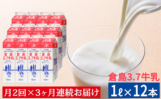 月2回×3ヶ月お届け!【倉島3.7牛乳】1L×12本セット