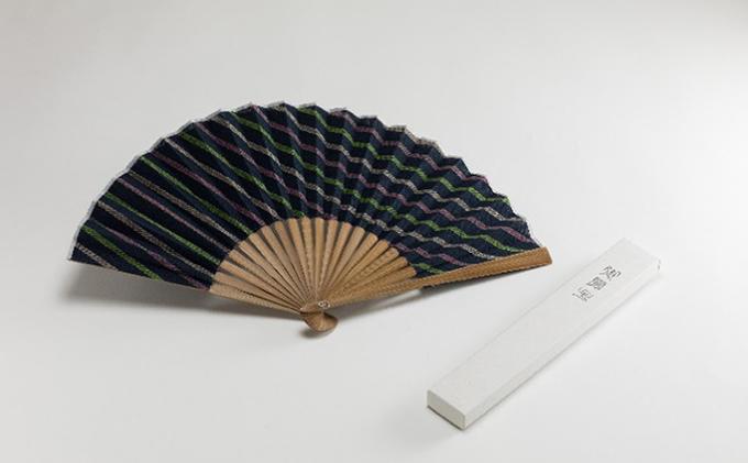 静岡県浜松市のふるさと納税 緑守扇 遠州綿紬 扇子(花野)