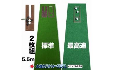 ゴルフ練習セット・標準&最高速(45cm×5.5m)2枚組パターマット(土佐カントリークラブオリジナル仕様)