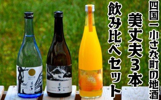 【四国一小さな町の地酒】美丈夫3本飲み比べセット