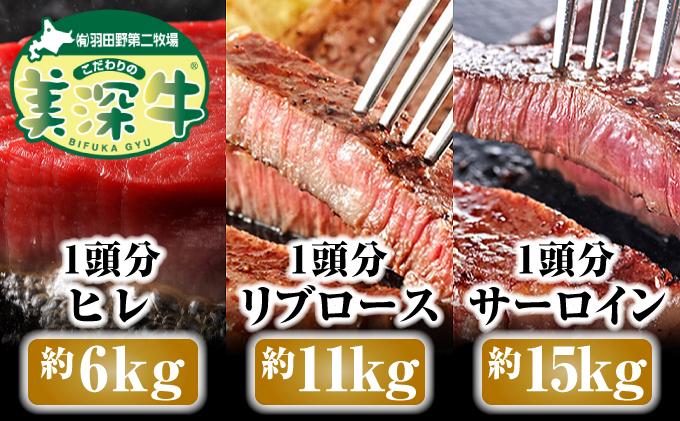北海道 こだわりの美深牛ヒレ・ロース1頭分(ヒレ約6kg・ロース約12kg)