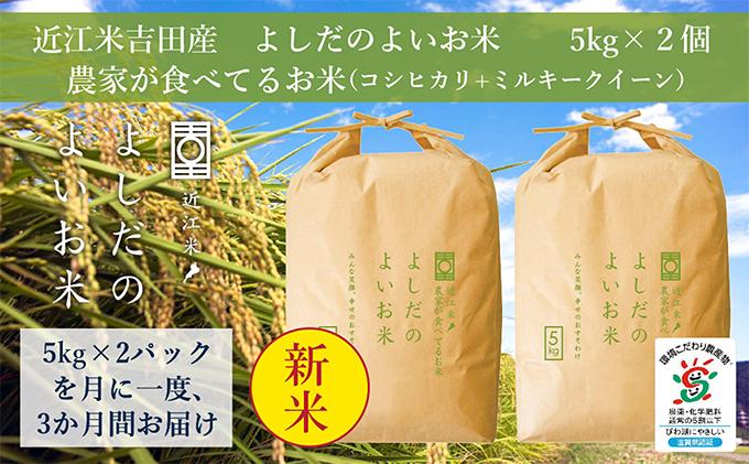 令和2年産よしだのよいお米 近江米農家が食べてるお米 10kg×3回