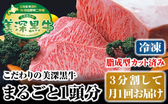 北海道 こだわりの美深黒牛1頭分(冷凍)3分割して月1回お届け