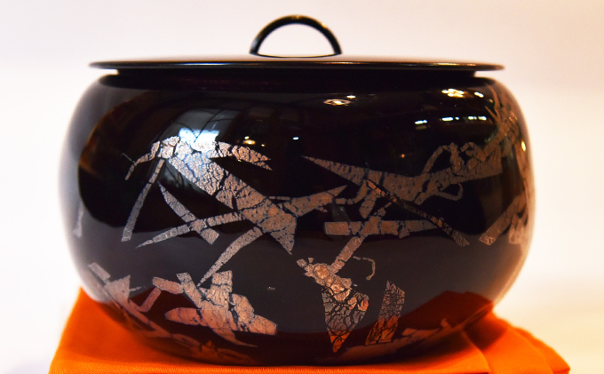 黒淡金銀彩水指(小)(ガラス製の茶道具)