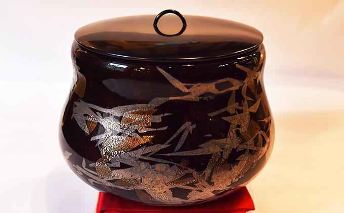 黒淡金銀彩水指(大・置水指)(ガラス製の茶道具)