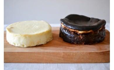 白と黒のチーズケーキセット