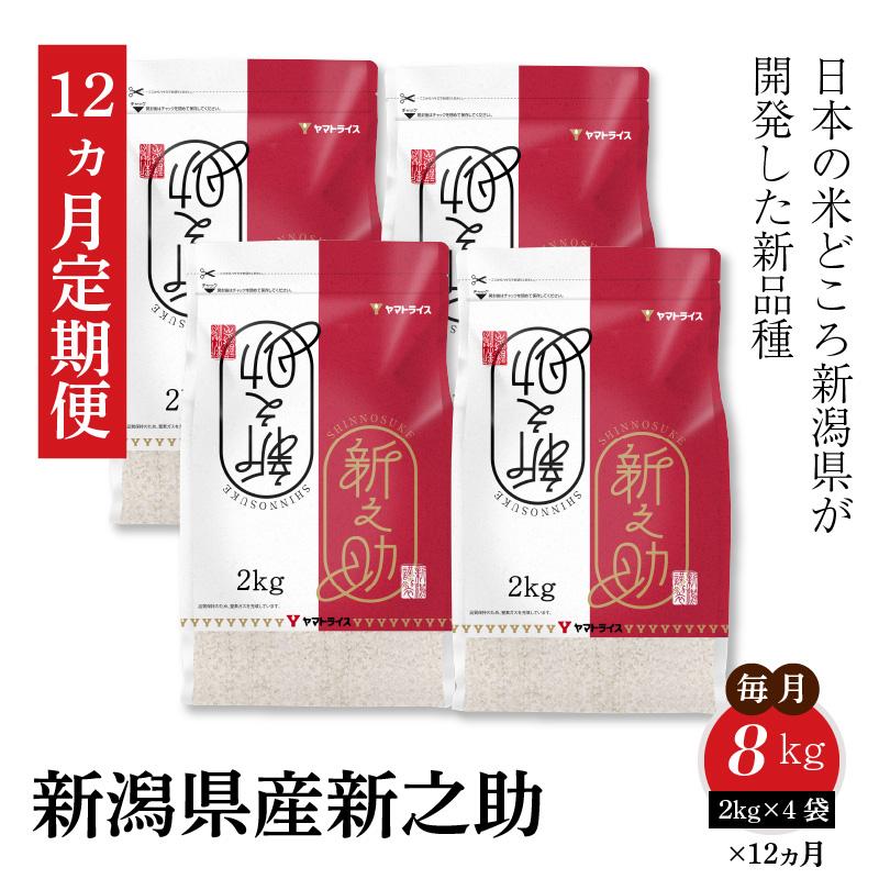 新潟県産新之助 2kg×4袋 ※定期便12回 安心安全なヤマトライス H074-054