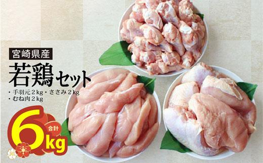 宮崎県美郷町のふるさと納税 宮崎県産若鶏むね、ささみ、手羽元セット 各2kg 合計6kg