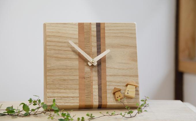 寄せ木細工の木の時計 木のぬくもりがおしゃれなインテリア