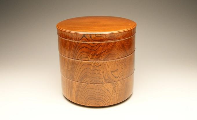 漆器 欅杢造三段重 桐箱入