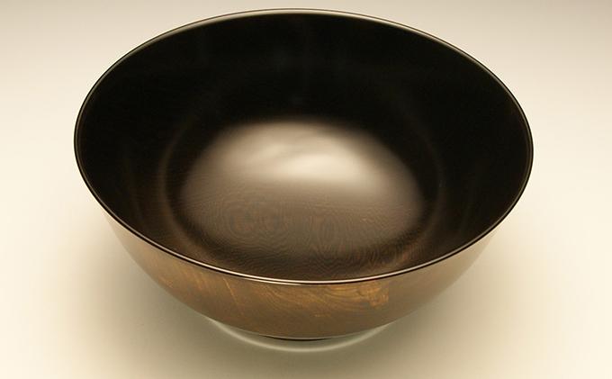漆器 栃造七寸端反深鉢(黒)