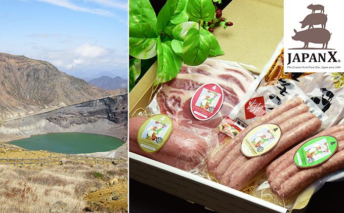 宮城蔵王産 牧場直送 JAPAN X JAPAN X ハム・ソーセージ&ホルモンセット/計895g