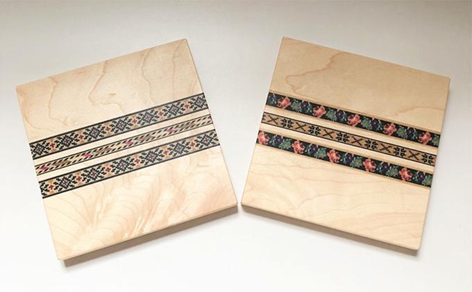 ウッドモザイク入り木製コースター(メイプル)