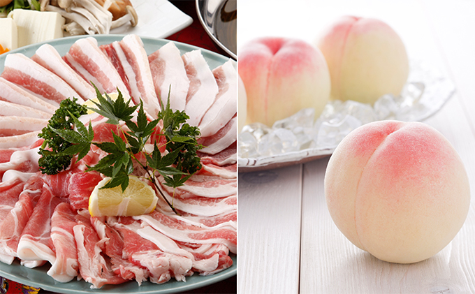 岡山白桃(3玉)+岡山県産プレミアム黒豚(600g)