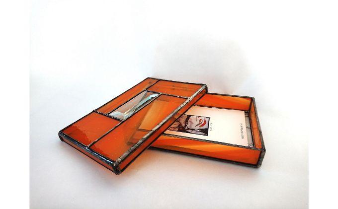ステンドグラスのハガキ入れ小箱