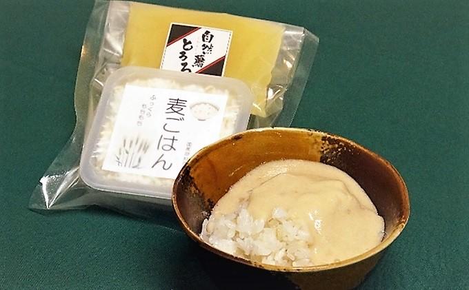 粘りの強い朝倉市産自然薯(じねんじょ)をすり鉢、すりこ木ですって出汁と醤油で味付けした自然薯とろろと、麦ご飯の相性バツグンのセット