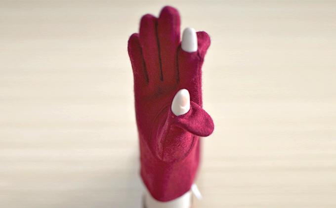 レディース カシミヤ手袋(指で~る)