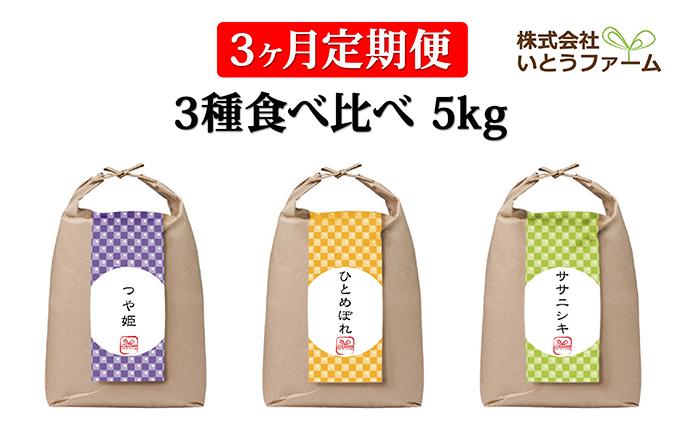 【3ヶ月定期便】いとうファームの令和2年産米 3種食べ比べ 5kg