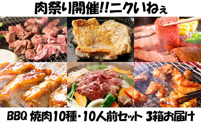 肉祭り開催!BBQセット ~焼肉10種 10人前コース~ 3箱セット