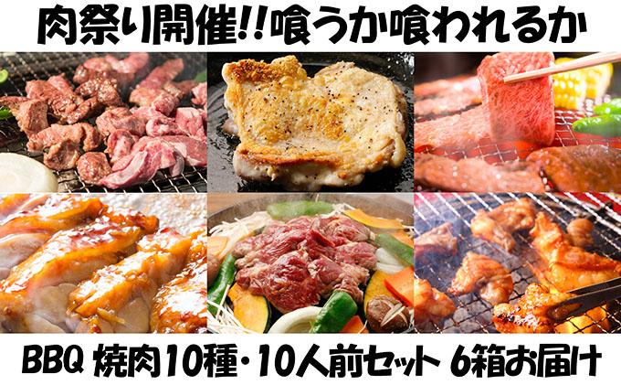 肉祭り開催!BBQセット ~焼肉10種 10人前コース~ 6箱セット