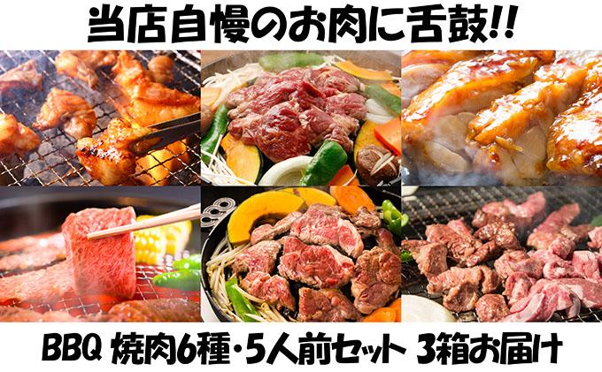エンジョイ!BBQセット ~焼肉6種 5人前コース~ 3箱セット