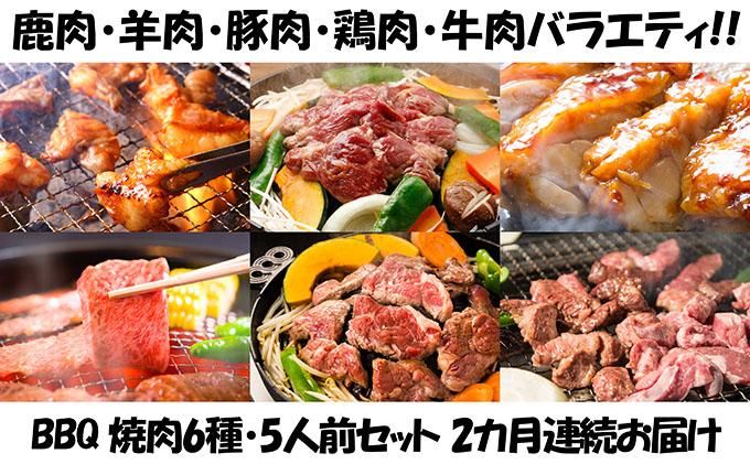 【2カ月連続】エンジョイ!BBQセット ~焼肉6種 5人前コース~
