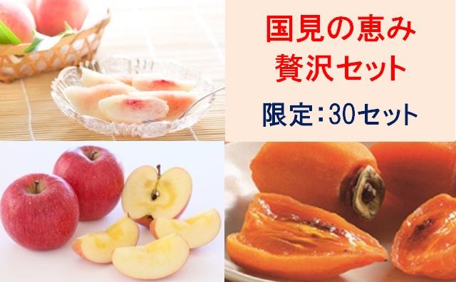 ★国見の恵み贅沢セット (もも、りんご、あんぽ柿)