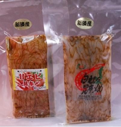 シロエビ昆布締め&甘えび昆布締めセット(各80g)