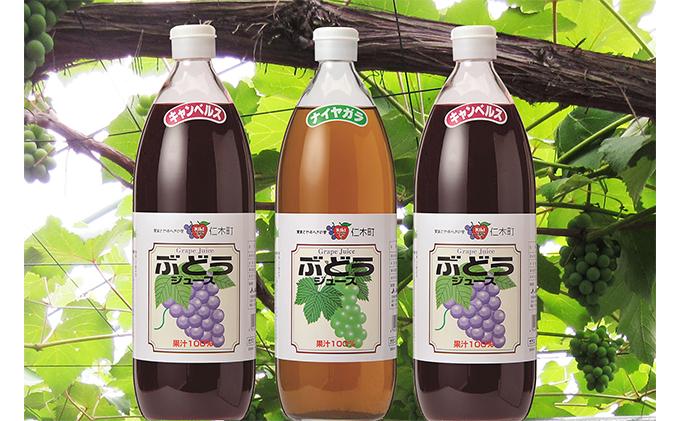 北海道仁木産ぶどうジュース飲み比べセット(キャンベルス、ナイヤガラ):3本