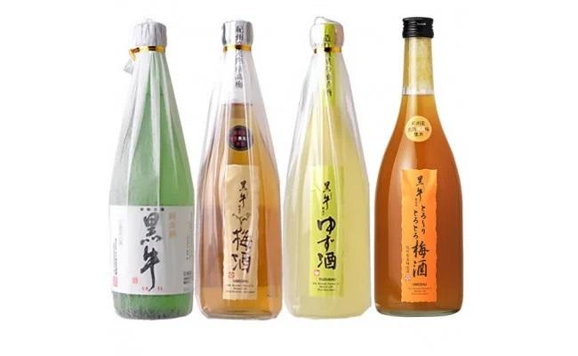 V6155_黒牛6本セット(純米酒720ml×2/梅酒720ml×2/ゆず酒720ml/とろーりとろとろ梅酒720ml)(E006)
