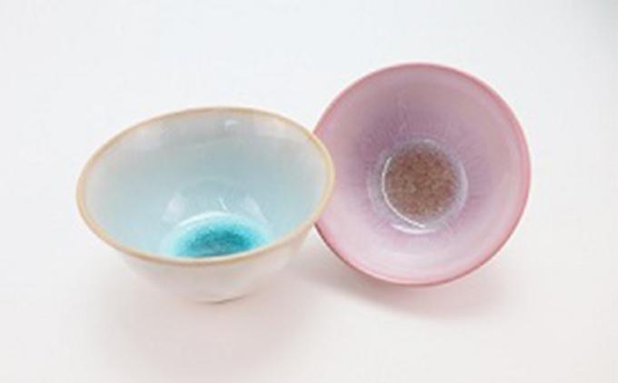 萩焼 ガラス釉 ペア飯碗