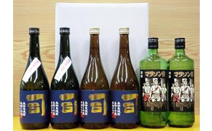 長期かめ貯蔵麦焼酎と焼酎「司・マラソン侍6本セット」