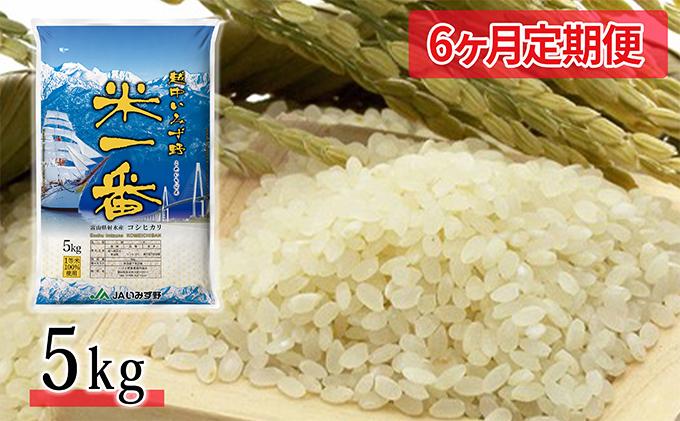 【6ヶ月定期便】越中いみず野米一番 5kg (コシヒカリ)