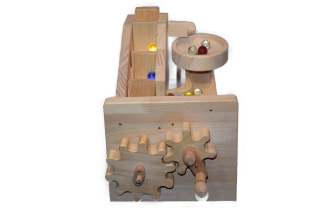 手作り木のおもちゃ ビー玉からくり 階段・トルネード