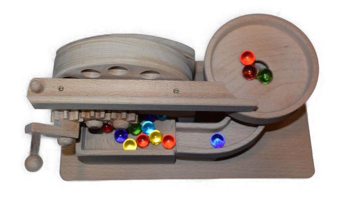 手作り木のおもちゃ ビー玉からくり プチ円盤トルネード