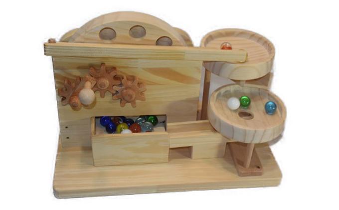手作り木のおもちゃ ビー玉からくり 円盤ツイントルネード
