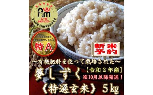 CI098 【10月発送】《令和2年産米》有機肥料を使った『夢しずく』玄米5kg(みやき町産)
