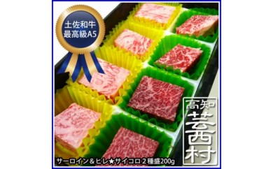 土佐和牛最高級【A5】三ツ星ステーキサーロイン・ヒレ二種盛りサイコロカット200g<高知市共通返礼品>